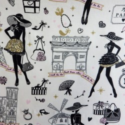 Tissu coton enduit moi Paris : 57943