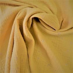Tissu double gaze à pois argentés :  57975