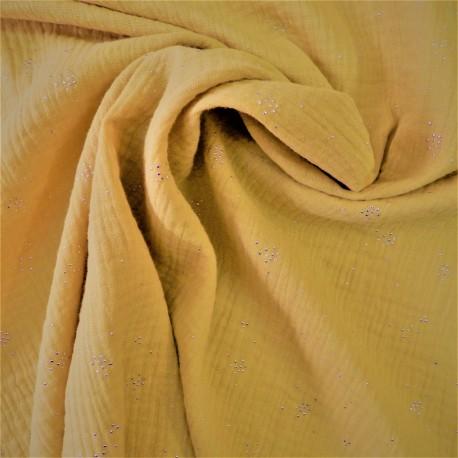 Tissu double gaze à pois argenté :  57975