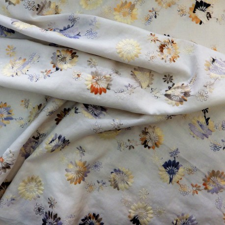 Tissu coton brodé : 58009