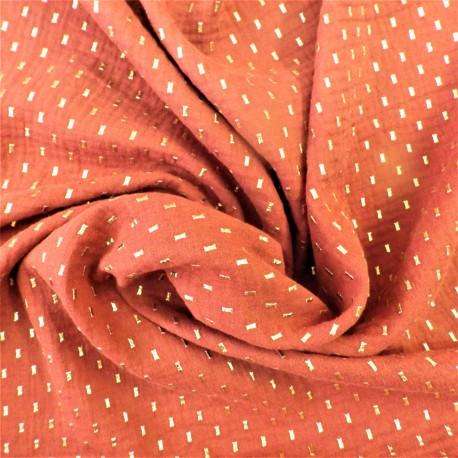 Tissu double gaze à pois dorés  : 22916