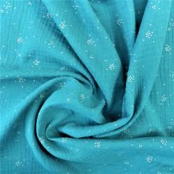 Tissu double gaze à pois argentés :  21223