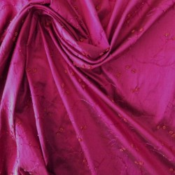 tissu soie sauvage brodé réf:16388