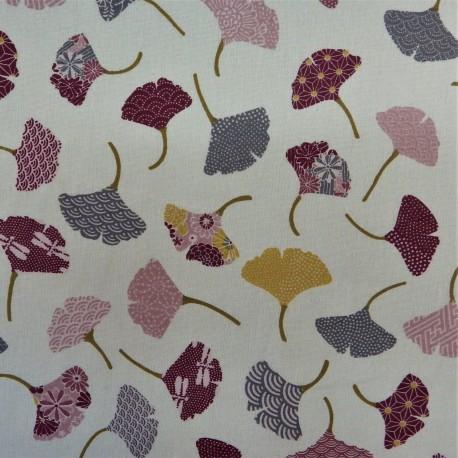 Tissu  cretonne feuilles de GINKO / 22843 : 9.60€ le m
