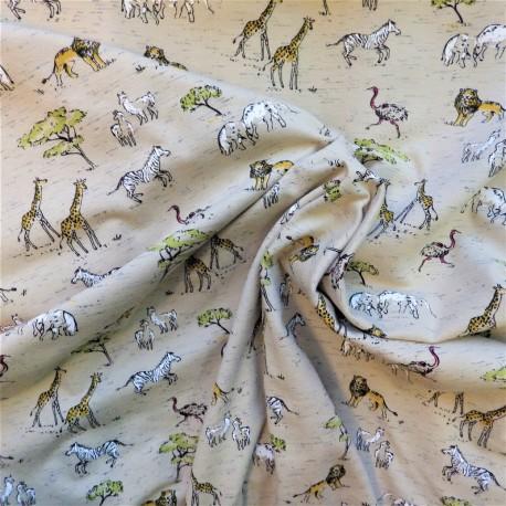 """Tissu jersey coton """" SAFARI IN AFRICA"""" : 22863 : 16.30€ le m"""