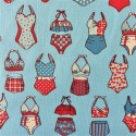 Tissu cretonne imprimé maillots de bains / réf  12571