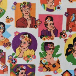 Tissu cretonne imprimée Frida Khalo  / réf 12573