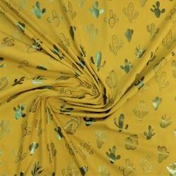 Tissu jersey coton  imprimé de cactus  /   réf : 12301