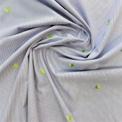 Tissu coton brodé à citrons : réf : 12339