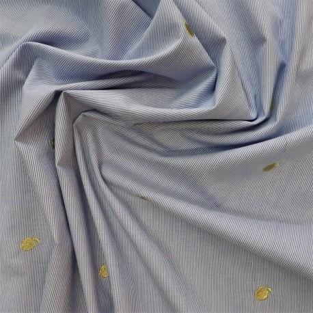 Tissu coton à ananas brodés : réf : 22886