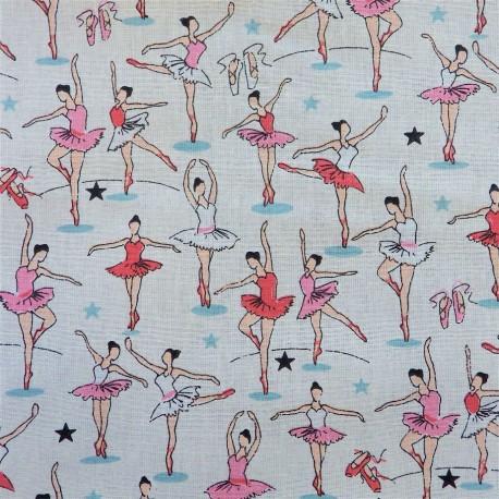 Tissu coton ballerines : 9.50€