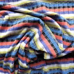 Tissu maille tricot à côtelée à fils argentés : 15.00€