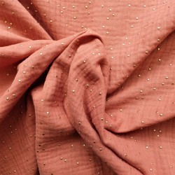 tissu double gaze à pois dorés : 9.90€
