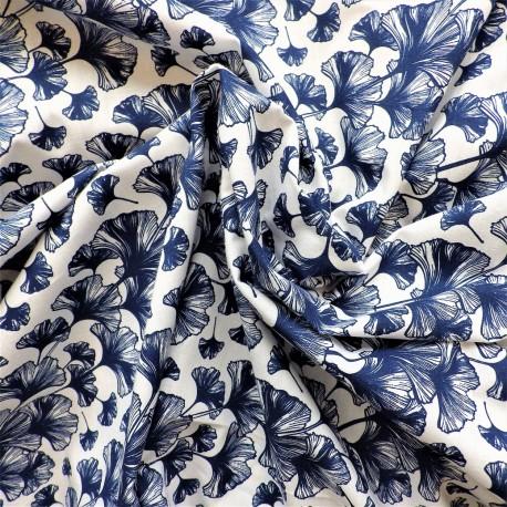 Tissu coton  à feuilles ginkgo: 7.80€