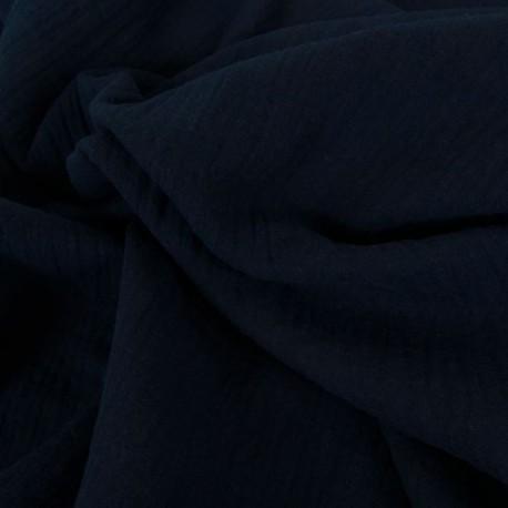 Tissu double gaze bleu nuit : 8.50€