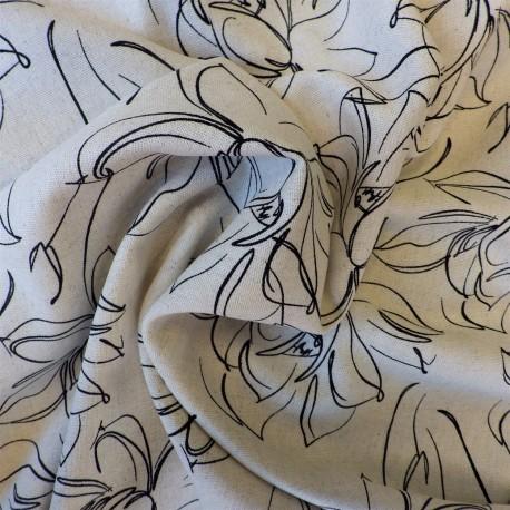 Tissu viscose lin flowers : 14.80€
