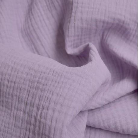 Tissu double gaze lilas : 8.50€