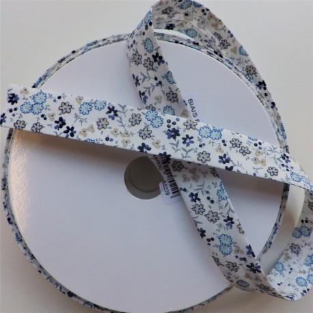 Biais coton à fleurs bleu : 1.50€
