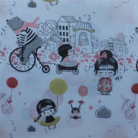 Tissu cretonne coton petite japonaise :10.80€